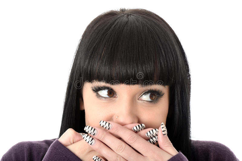 Happy Embarrassed Shocked Attractive Woman stock photo