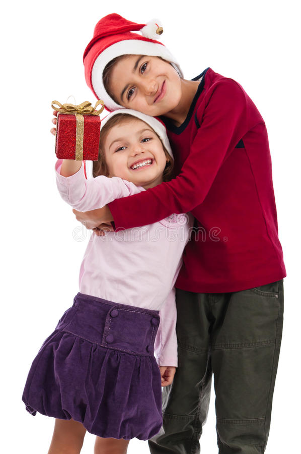 Download Happy Embraced Children With Present At Christmas Stock Image - Image of friend, decoration: 22883013