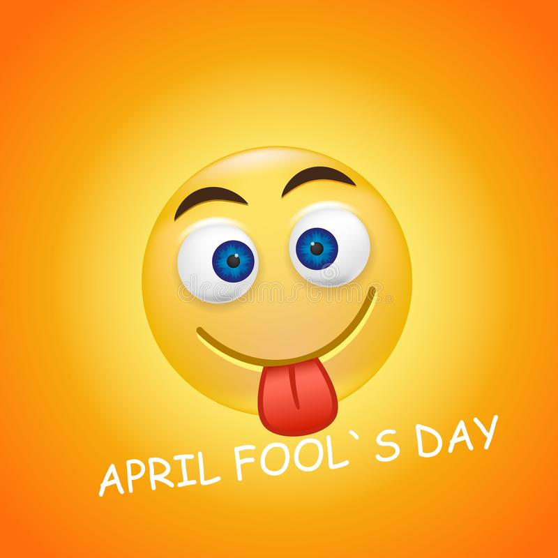 Happy emoji on bright background. April 1, the day of laughter. April fool s day. stock illustration