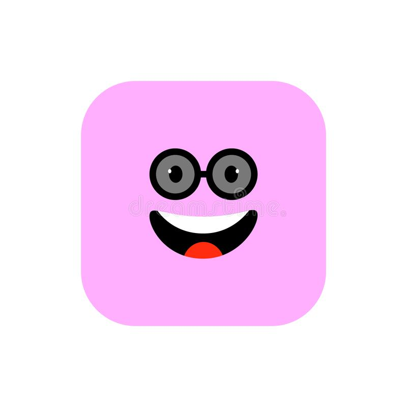 Happy Emoji icon flat style. Cute Emoticon rounded square to World Smile Day. Cheerful, Lol, Enjoying Face. Colorful vector illustration