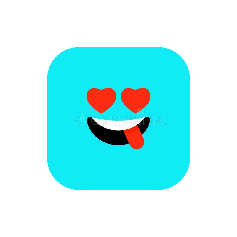 Happy Emoji icon flat style. Cute Emoticon rounded square to World Smile Day. Cheerful, Lol, Enjoying Face. Colorful royalty free illustration