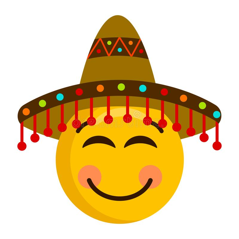 Happy emoji with a mexican hat. Vector illustration design vector illustration