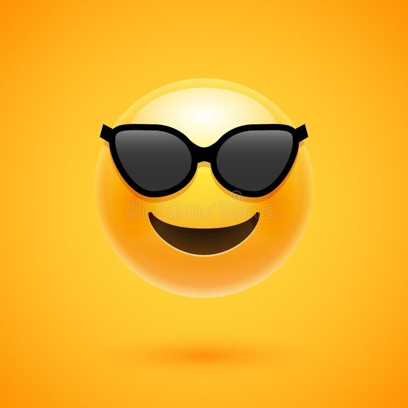 Happy emoji smile in sunglass. Yellow round emoticon cartoon character isolated illustration royalty free illustration