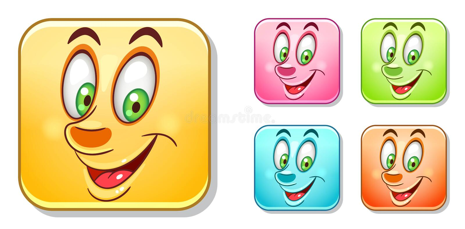 Happy Emoticons Collection stock image
