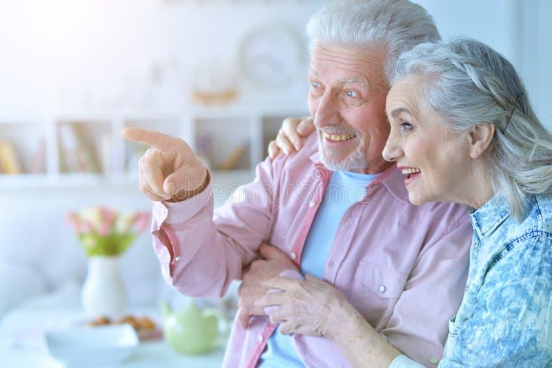 Close up portrait of happy senior couple posing stock photography