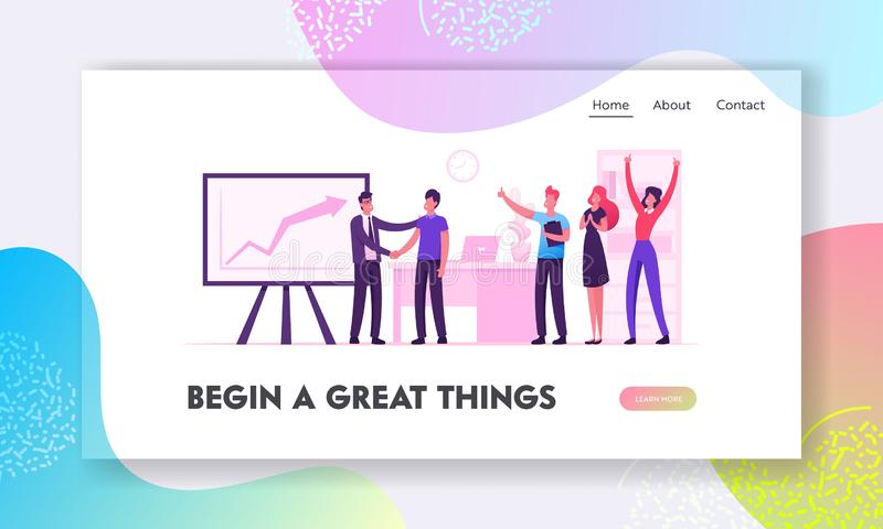 Happy Employees in Workplace Celebrating Business Success Website Landing Page Radosni pracownicy pakietu Office royalty ilustracja
