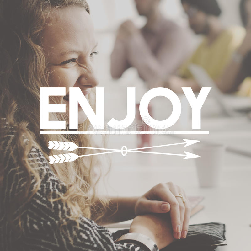 Happy Enjoy Imagine Dream Inspire Concept. Diverse Business people enjoy work place stock photography