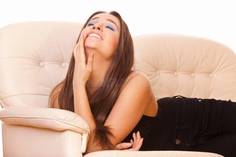Happy and enjoys woman royalty free stock photos
