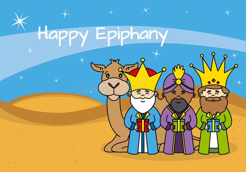 Happy Epiphany card. The three wise men with gifts and a camel royalty free illustration