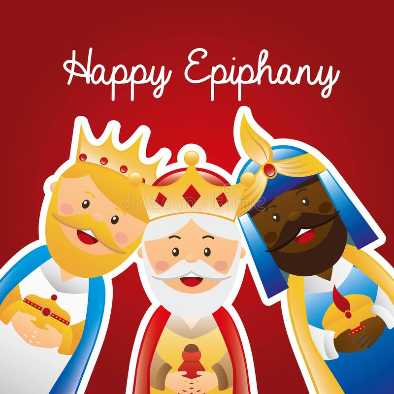 Happy epiphany. Happy ephipany over red background vector illustration royalty free illustration