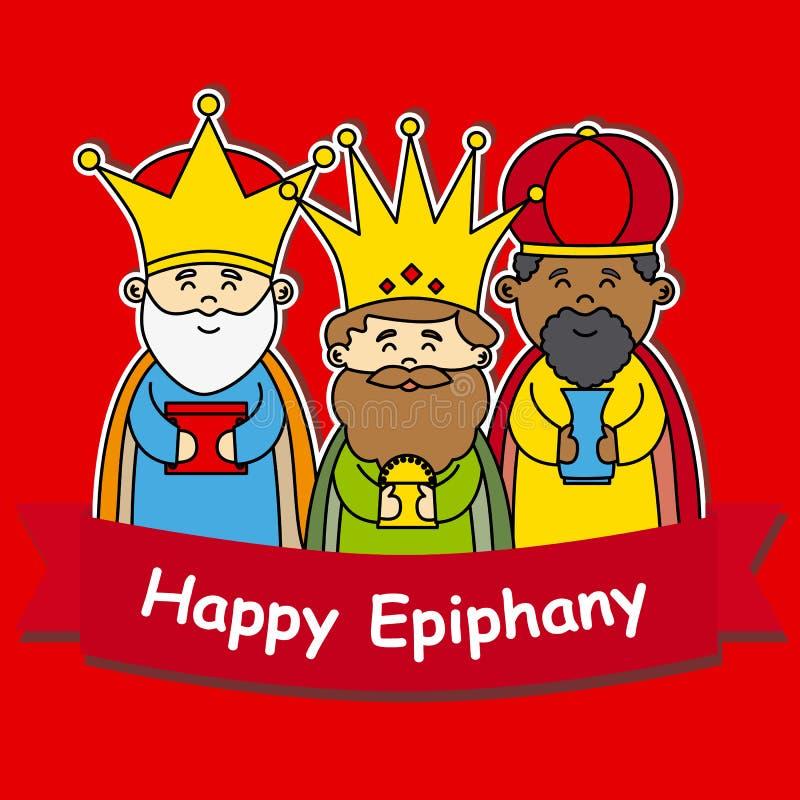 Happy epiphany. Melchor, Gaspar and Balthazar on red background royalty free illustration