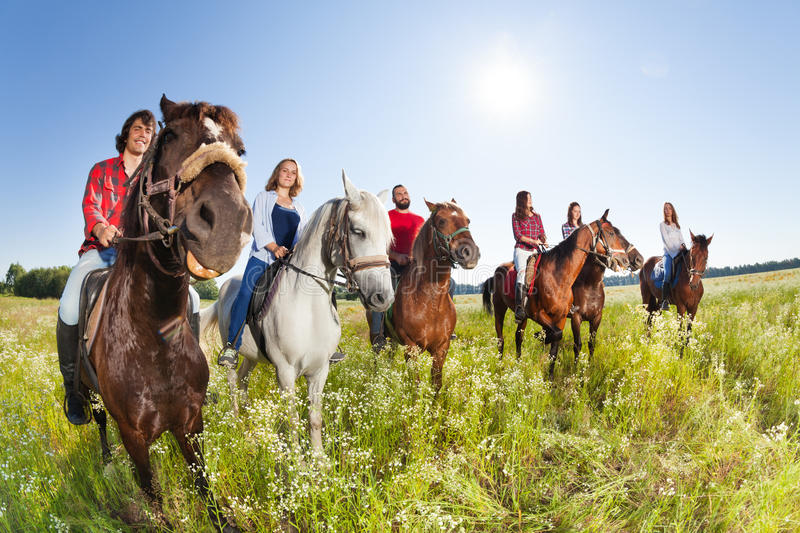 Happy equestrians riding horses in summer meadow. Group of six happy equestrians riding their horses in summer meadow royalty free stock photo