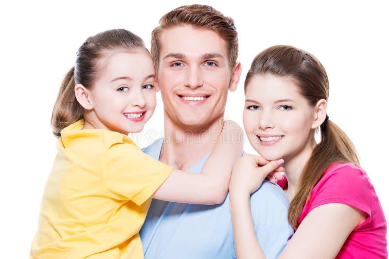Happy european family with child. royalty free stock photo