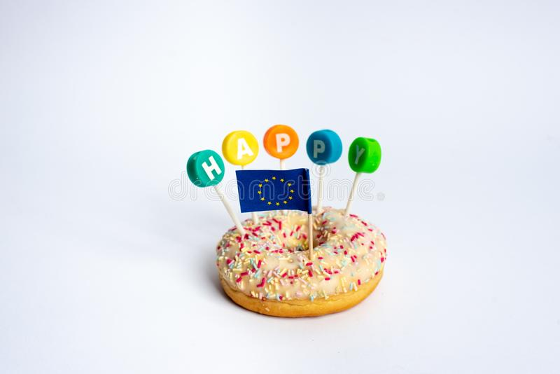 Happy European Union metaphore stock photos