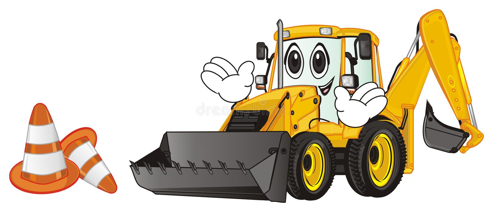 Happy excavator with cones. Smiling yellow excavator with hands stand near of cones stock illustration