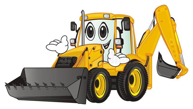 Happy excavator with hands. Funny yellow excavator with two hands royalty free illustration