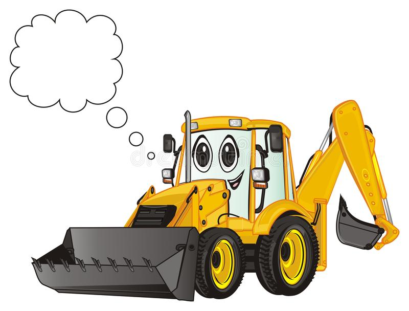Happy excavator and sign. Smiling excavator with clean callout stock illustration