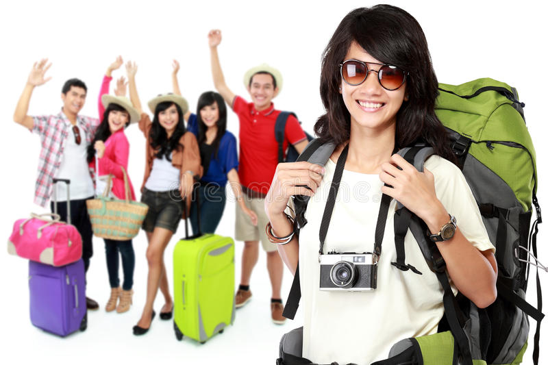 Happy excited asian traveler royalty free stock images