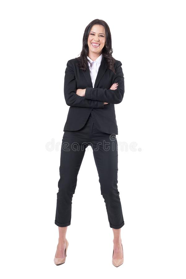 Happy excited business woman with crossed arms laughing stock photos