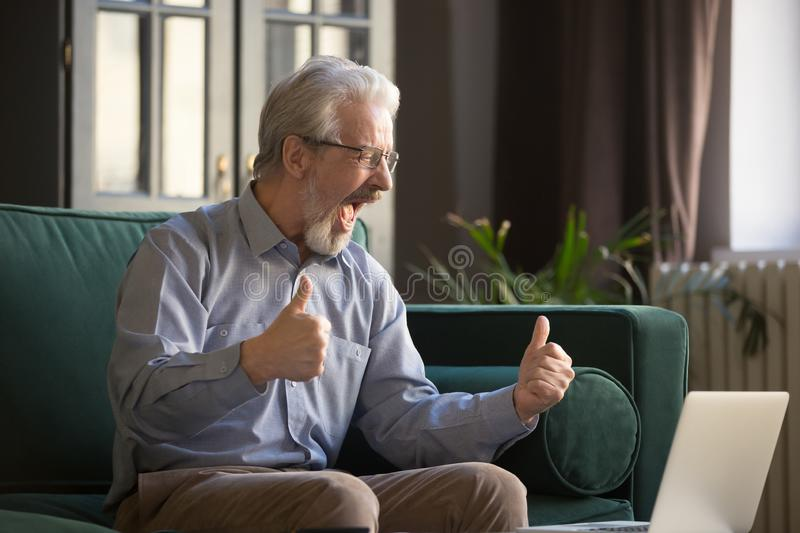 Happy excited grey haired mature man celebrating success, using laptop stock images