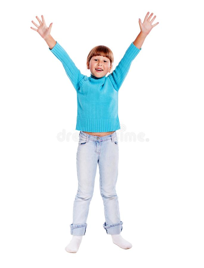 Happy Jumping girl royalty free stock image