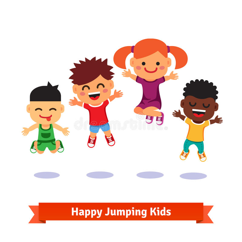 Happy and excited jumping kids royalty free illustration