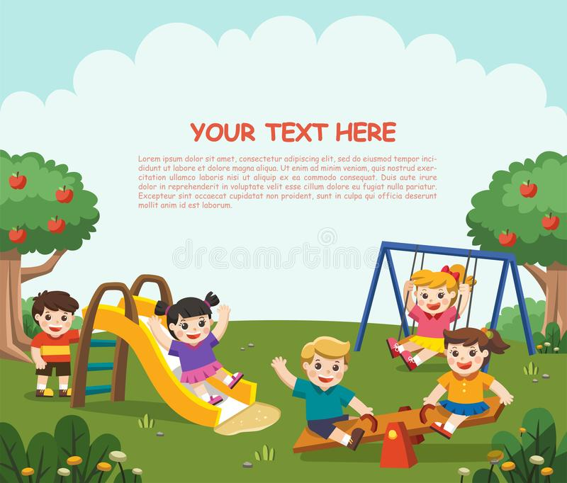 Happy excited kids having fun together on playground. Children p stock illustration