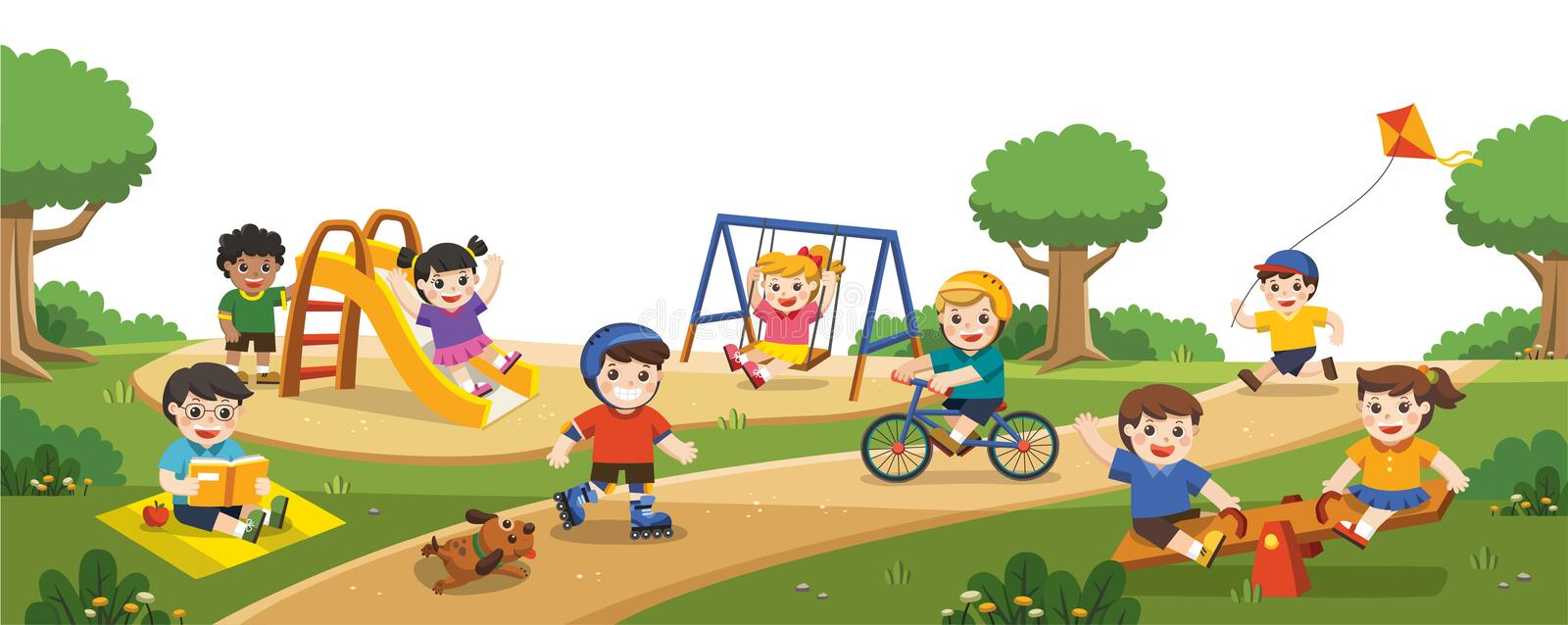 Happy excited kids having fun together on playground. Children play outside. stock illustration