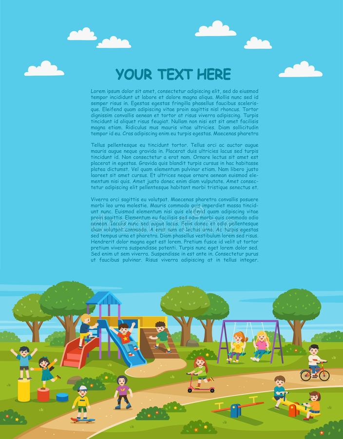 Happy excited kids having fun together on playground. Children play outside with sky background. Colorful isometric playground elements with Kids.  Template vector illustration