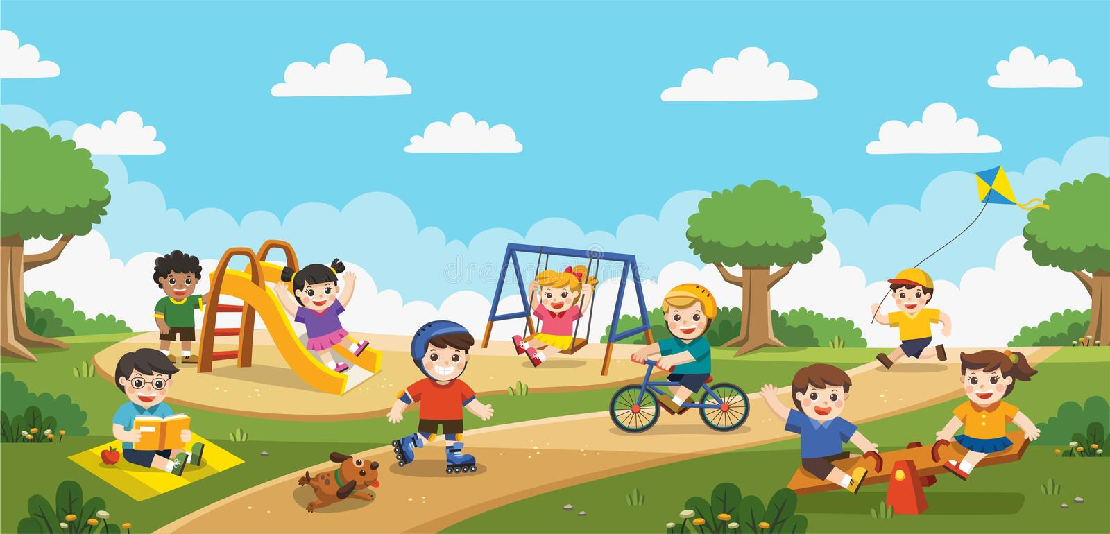 Happy excited kids having fun together on playground. vector illustration