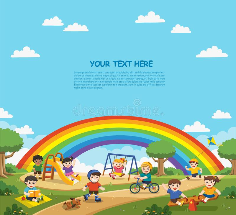 Happy excited kids having fun together on playground. royalty free illustration