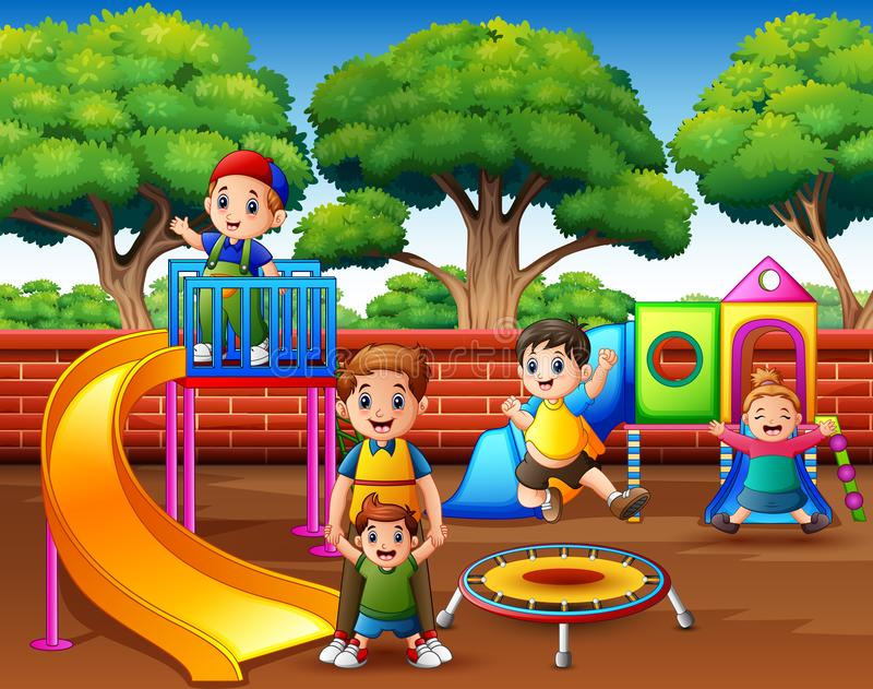 Happy excited kids having fun together on playground royalty free illustration