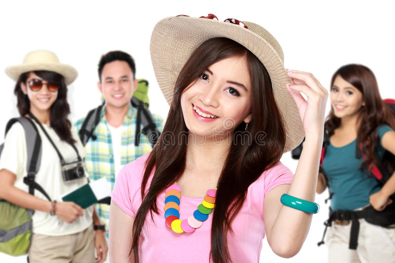Happy excited traveler. Group of happy friends excited traveler. summer vacation concept stock photos