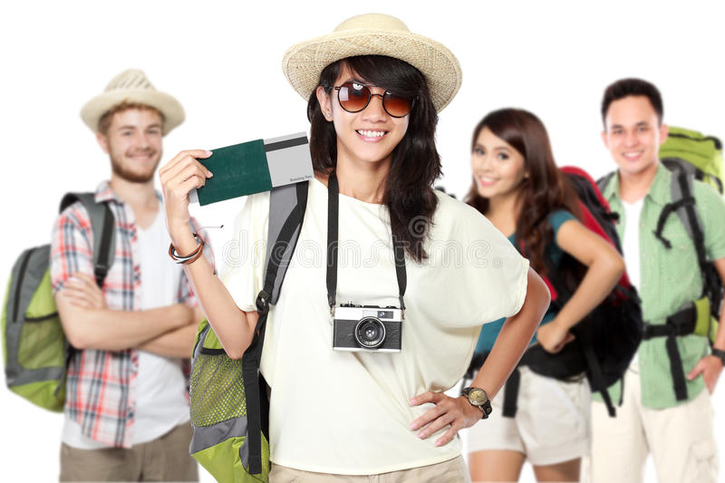 Happy excited traveler. Group of happy excited traveler holding boarding pass and paspport. summer vacation concept stock photography
