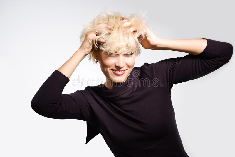 Happy Excited Woman Messing Her Hairs Stock Photography