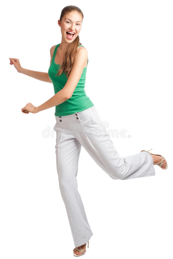 Happy excited woman running stock images