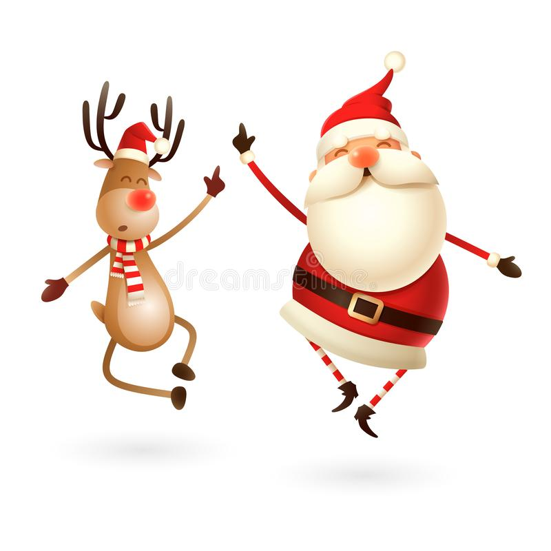 Happy expresion of Santa Claus and Reindeer - they jumping straight up and bring their heels clapping together right under stock illustration