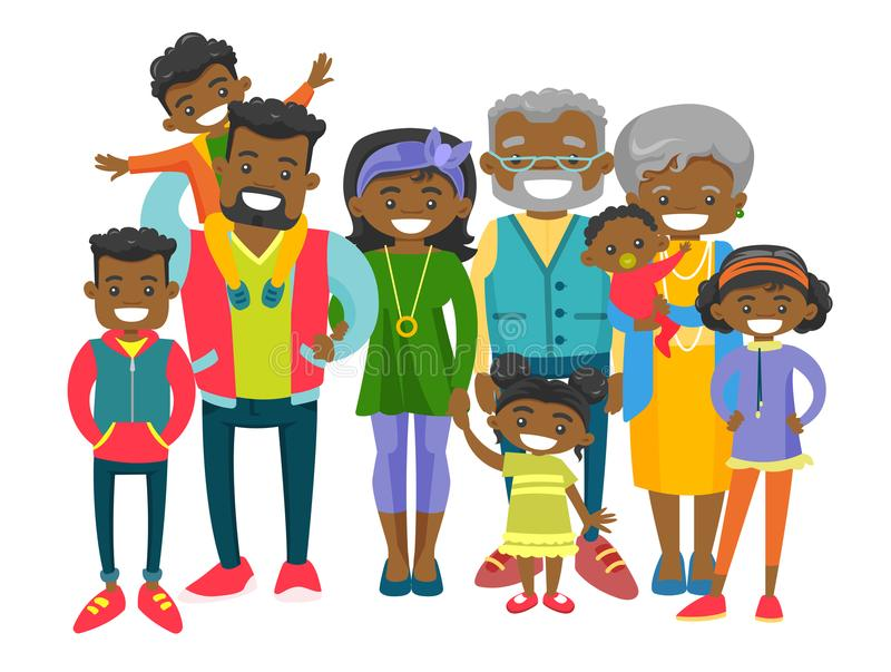 Happy extended african-american family. royalty free illustration
