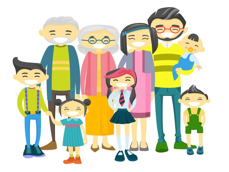 Happy extended asian family with many children. vector illustration
