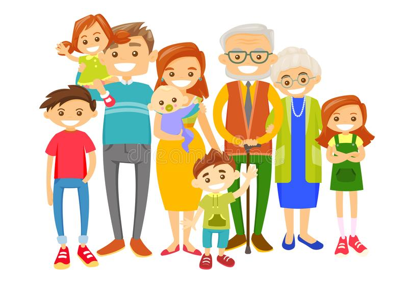 Happy extended caucasian smiling family. stock illustration