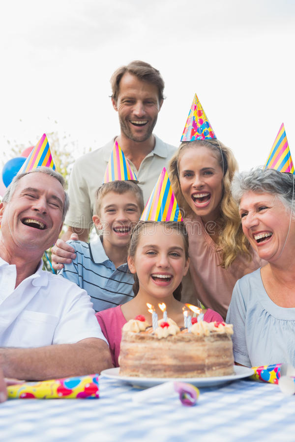 Happy extended family celebrating a birthday royalty free stock image