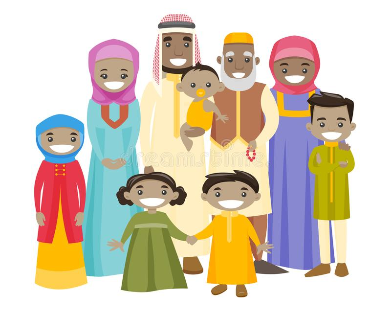 Happy extended muslim family with cheerful smile. stock illustration