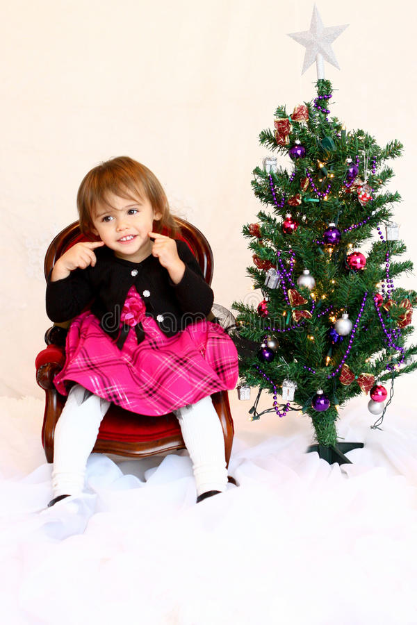 Happy Face 1-year old Christmas girl royalty free stock photos