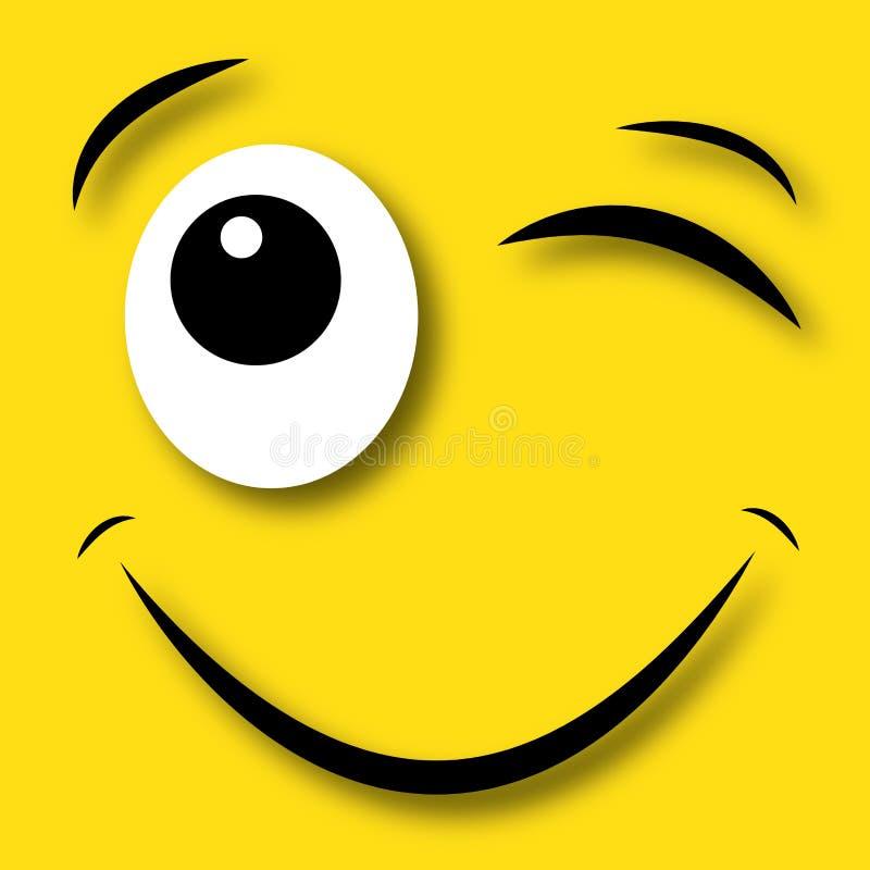 Happy face blinking eye. Header banner card or sign vector illustration
