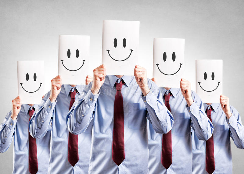 Happy face. Businessmen on their face royalty free stock images
