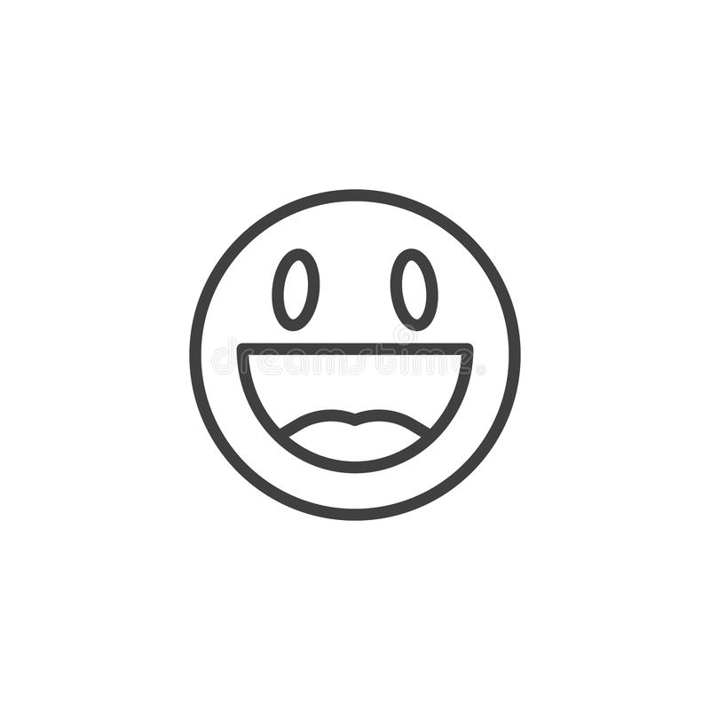 Happy face emoji line icon. Grinning face smiley linear style sign for mobile concept and web design. Happy smile emoticon outline vector icon. Symbol, logo royalty free illustration