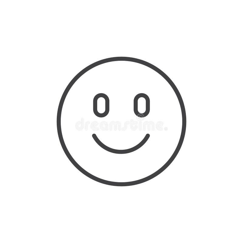 Happy face emoji outline icon vector illustration