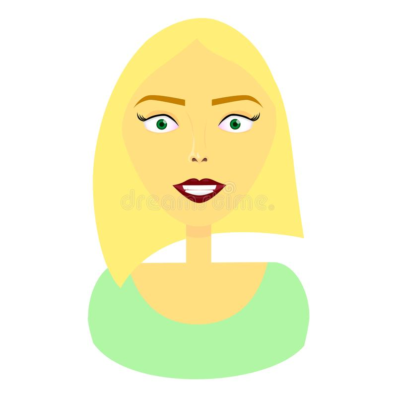 Happy face of a cute blond girl vector illustration