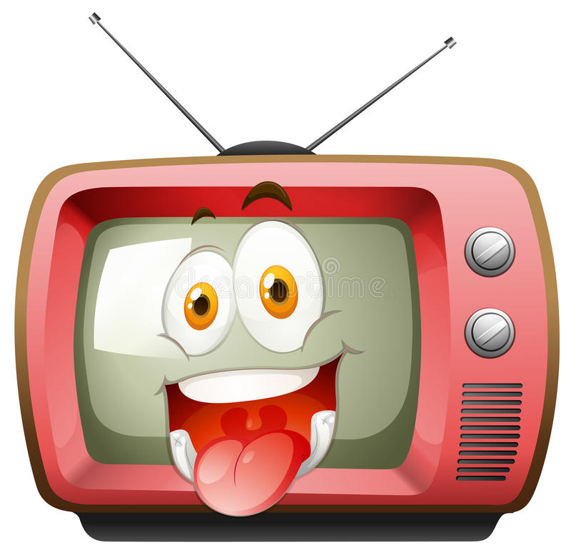 Happy face expression on tv stock illustration
