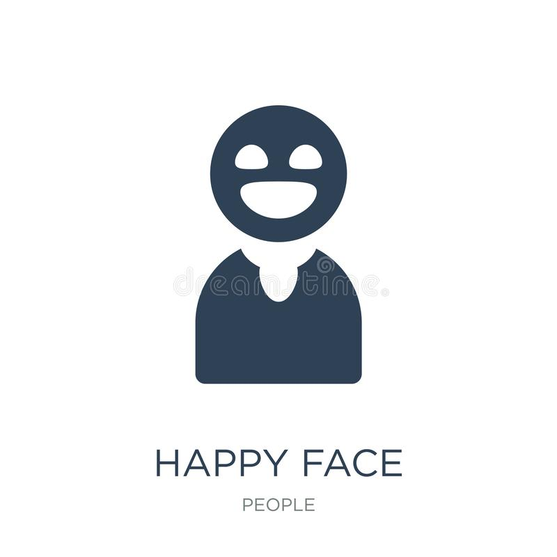 Happy face icon in trendy design style. happy face icon isolated on white background. happy face vector icon simple and modern. Flat symbol for web site, mobile royalty free illustration